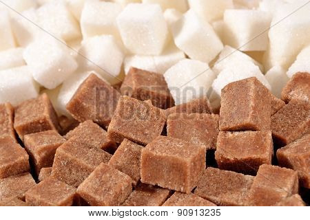 Heap Of Brown And White Refined Sugar
