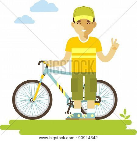 Young bicycle rider man with bike in flat style