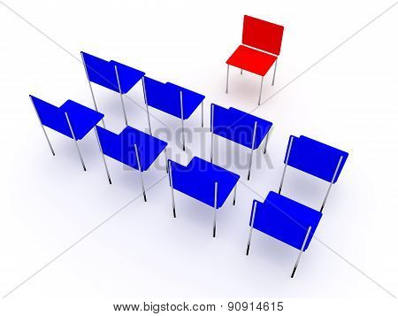 Illustration Of Planning In The Company. One Red And Four Blue Chair.