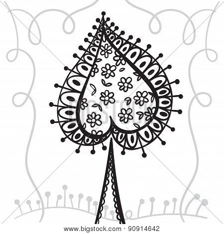 Hand Drawing Zentangle Element With Decorative Frame.  Decorative Abstract Tree. Card Spades.