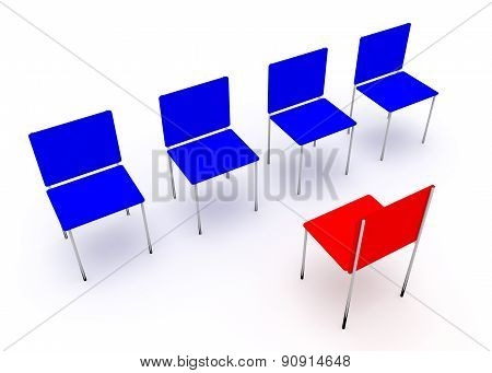 Leadership Concept.  Red And Four Blue Chairs