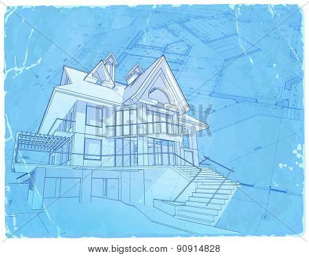 architecture blueprint - house model, plan & blue old paper background