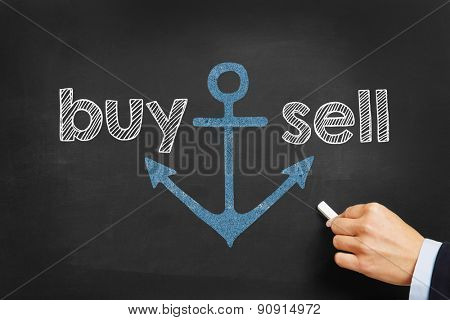 Hand writing buy and sell on blackboard with chalk