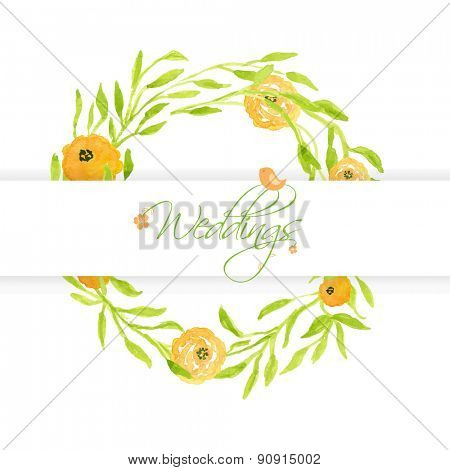 Wedding card with peach peonies wreath and cute bird. Watercolor painted vector card.