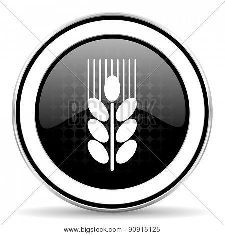 grain icon, black chrome button, agriculture sign