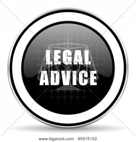 legal advice icon, black chrome button, law sign