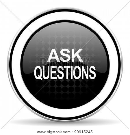 ask questions icon, black chrome button