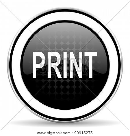print icon, black chrome button