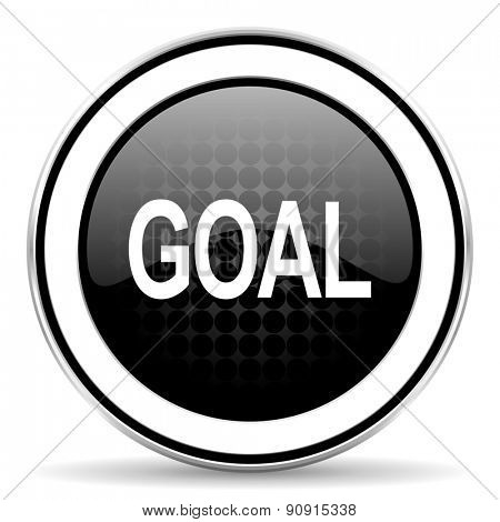 goal icon, black chrome button