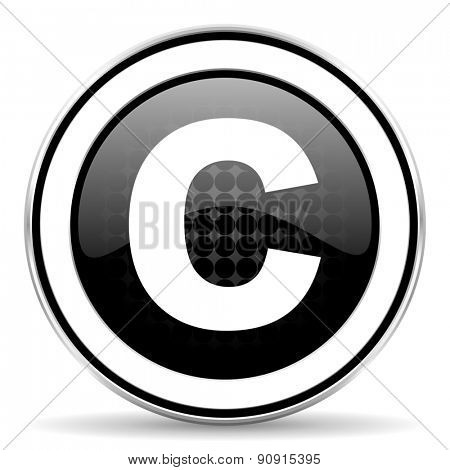 copyright icon, black chrome button