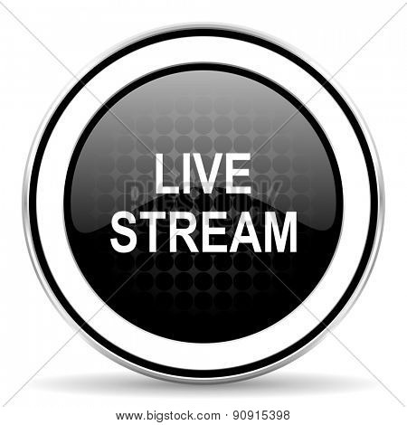 live stream icon, black chrome button