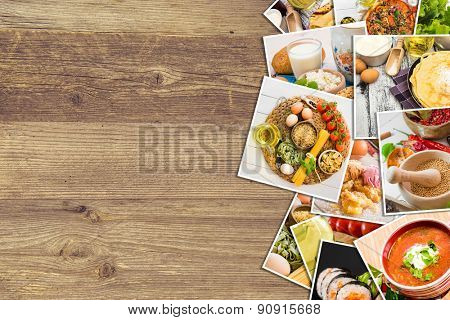 background of the food photos on a wooden table