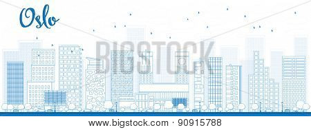Outline Oslo Skyline with Blue Building