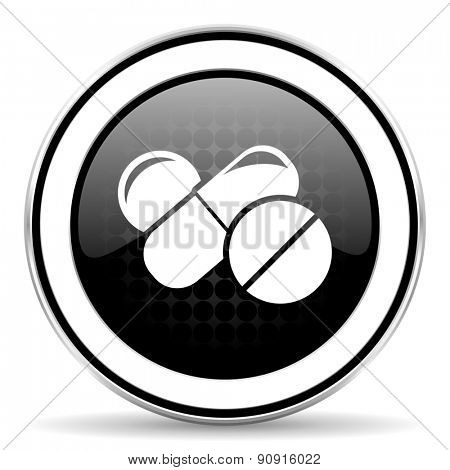 medicine icon, black chrome button, drugs symbol, pills sign