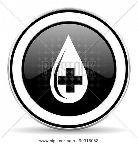 blood icon, black chrome button