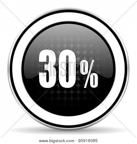 30 percent icon, black chrome button, sale sign