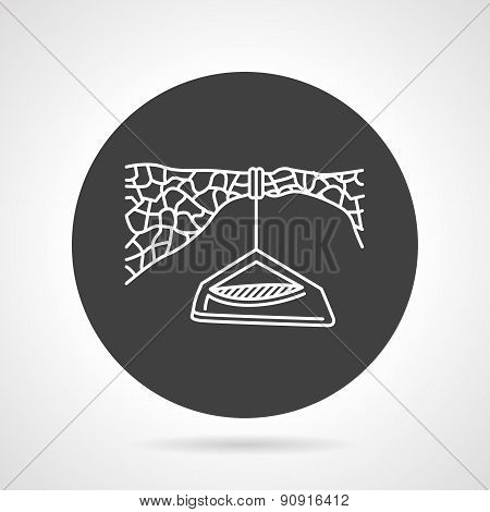 Hanging camp black round vector icon