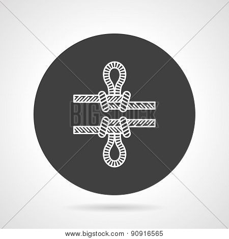 Rope knot black round vector icon