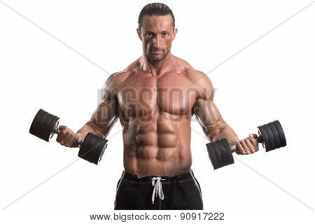 Man Working Out With Dumbbells On White Background