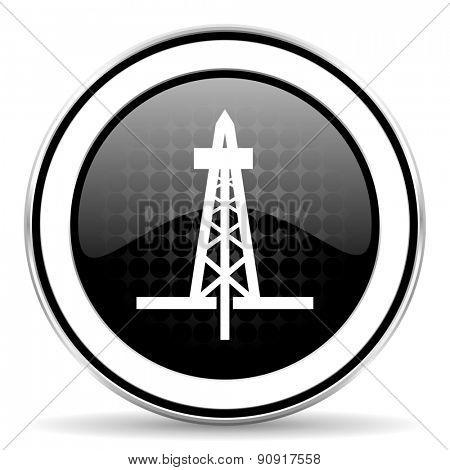 drilling icon, black chrome button