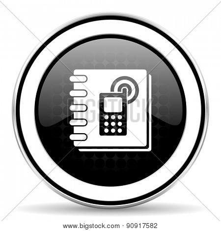 phonebook icon, black chrome button