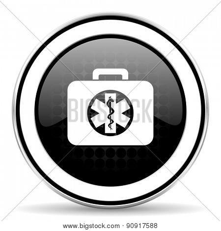 rescue kit icon, black chrome button, emergency sign