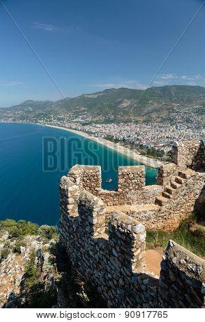 Castle of Alanya built on rocks and beach of Cleopatra Antalya Turkey