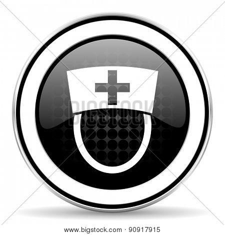 nurse icon, black chrome button, hospital sign