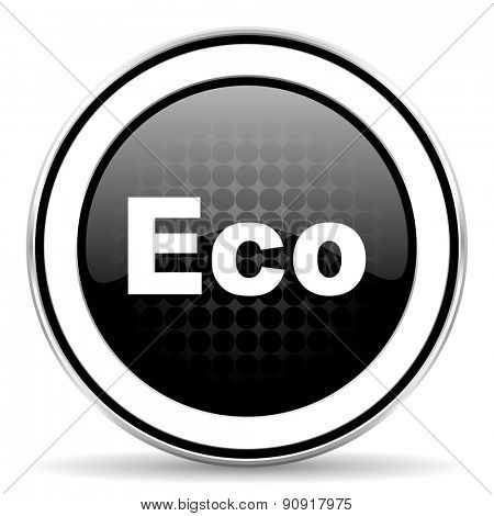 eco icon, black chrome button, ecological sign