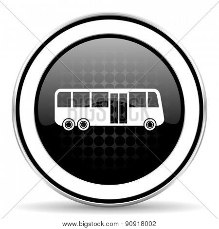 bus icon, black chrome button, public transport sign