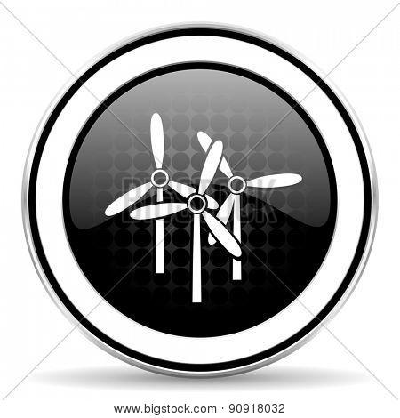 windmill icon, black chrome button, renewable energy sign