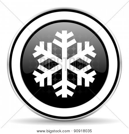snow icon, black chrome button, air conditioning sign