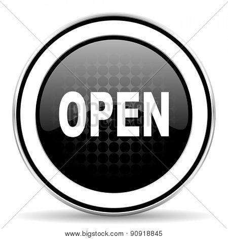 open icon, black chrome button