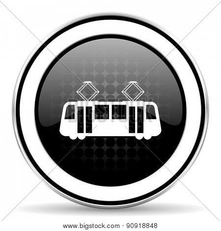 tram icon, black chrome button, public transport sign