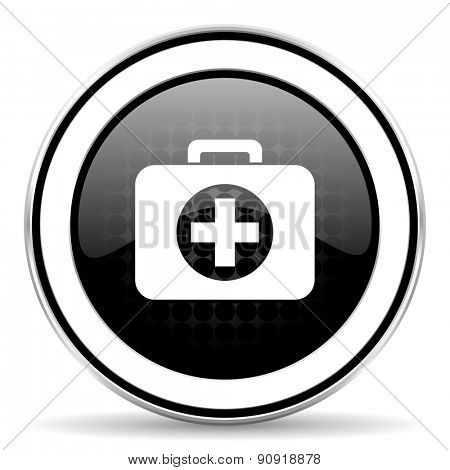 first aid icon, black chrome button, hospital icon, black chrome button