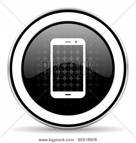 smartphone icon, black chrome button, phone sign