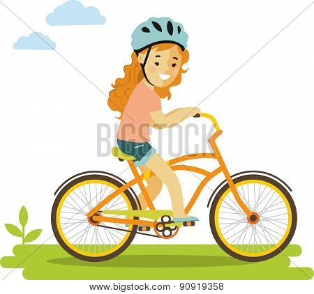 Happy little girl riding bikes isolated on white background in flat style