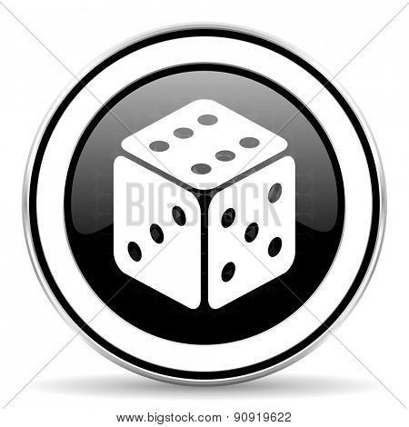 casino icon, black chrome button, hazard sign