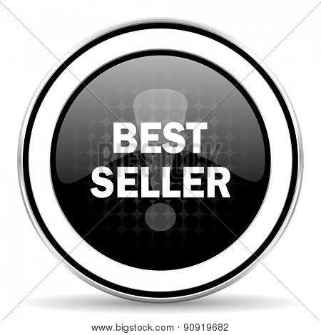 best seller icon, black chrome button