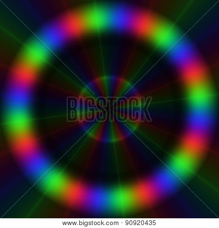 Colorful Rgb Lights In Circular Pattern With Centripetal Rays