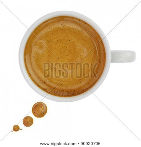 Coffee cup with drops forming a text bubble isolated on white