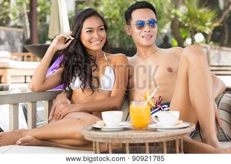 Portrait of a happy romantic couple outdoors, summer time