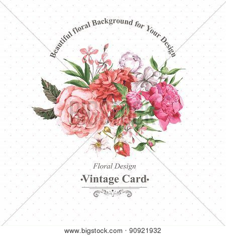 Vintage Watercolor Greeting Card with Blooming Flowers. Roses, Wildflowers and Peonies