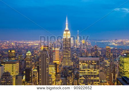 New York City skyline with urban skyscrapers at dusk, USA.