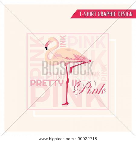 Tropical Flamingo Graphic Design - for t-shirt, fashion, prints - in vector