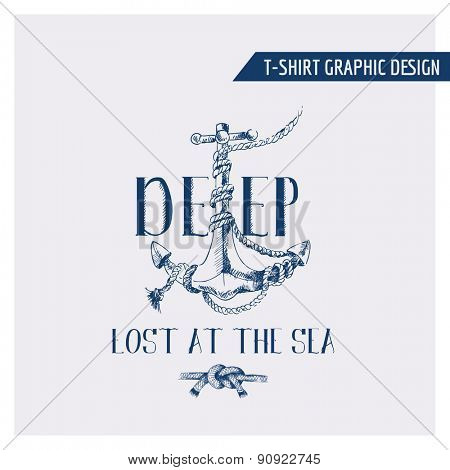Nautical Anchor Graphic Design - for t-shirt, fashion, prints - in vector
