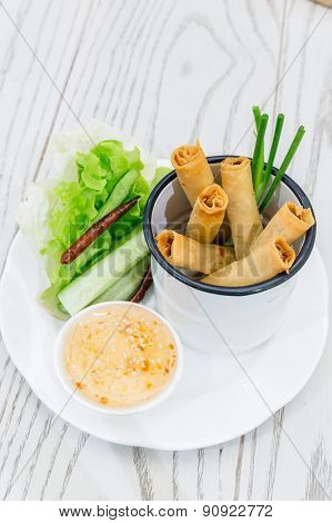 Thai Chinese Traditional deep Fried Spring rolls food