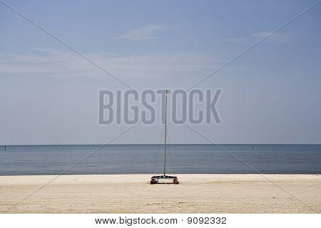 Empty Beach & Boat, Gulf Coast