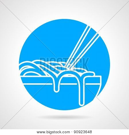Noodles bowl blue round vector icon