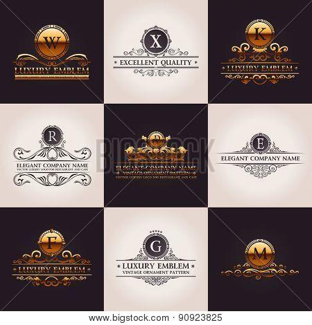 Luxury logo set. Calligraphic pattern elegant decor elements. Vintage vector gold ornament